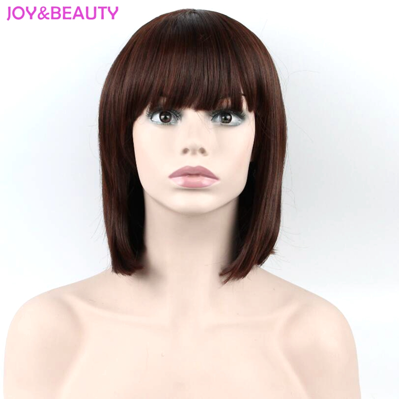 JOY&BEAUTY Hair Women Full Fringe Short Bob Wig Brown burgundy Heat Resistant Synthetic Hair Wig High Temperature Fiber 12inch