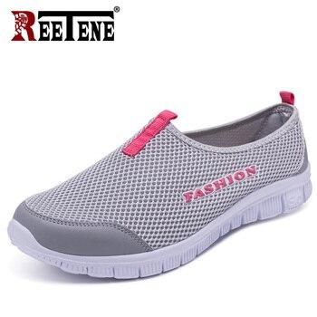 2295e4fd Reetene 2019 Новая Летняя обувь женская дешевая сетчатая повседневная обувь  для женщин кроссовки уличные спортивные влюбленные Туфли размер 33-46