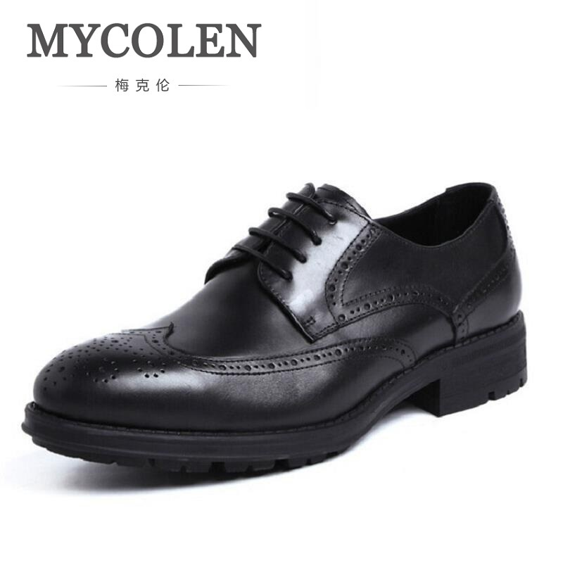 MYCOLEN Italian Lace Up Men Genuine Leather Men Wedding Brogue Formal Dress Business Party Office Black Oxford Shoes Scarpe недорого