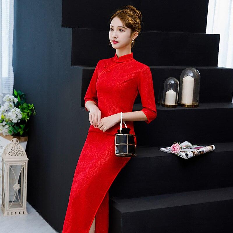 À Vintage Mode lavande Cheongsam Style Rose De D'été Mince Bouton Sexy Femmes Chinois Robes Long Partie 2019 Robe Dentelle Qipao rouge Nouvelle uOikXZPT