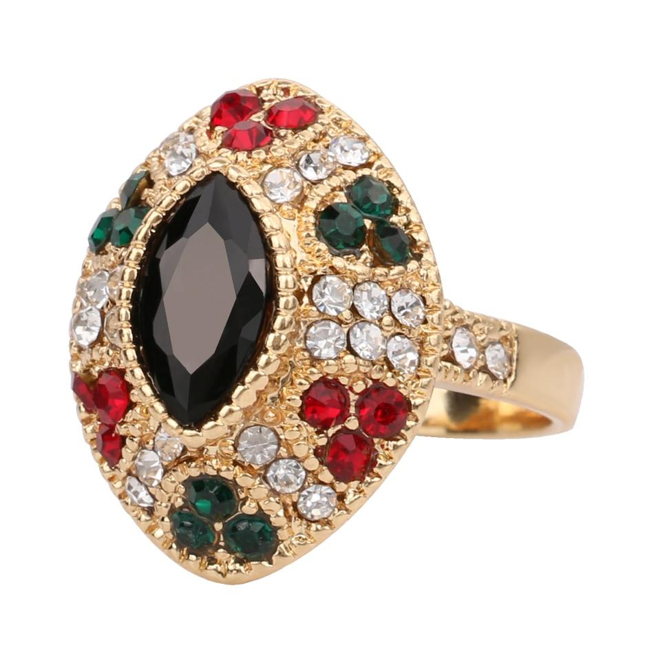 2016 Cheap Unique Female Vintage Black Rings Plating Gold Engagement Wedding Ring Turkish ...