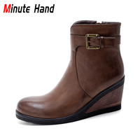 Minute Hand New Arrive High Heel Wedge Ankle Boots For Women Buckle Strap Winter Booties Fashion