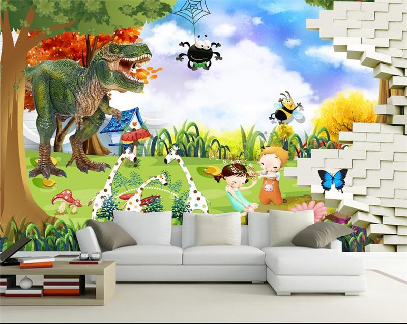3d photo wallpaper custom mural wallpaper kids room dinosaur bee trees 3d painting room sofa TV background wall non-woven mural 3d photo wallpaper custom mural kids room cartoon broken wall car painting sofa tv background non woven wallpaper for walls 3d