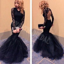 FG73 Sexy Black Lace Long Sleeve Prom Dresses 2016 New Backless Fishtail Train Evening Party Dress Custom Made Vestido De Festa