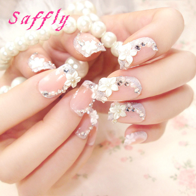 Saffly 3d Flower Fake Nails Decorated Art Artificial Faux Ongles With Glue Sticker 24pcs Y