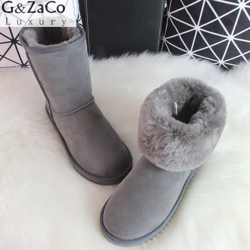G&Zaco Classic Sheepskin Snow Boots Australia Winter Sheep Fur Wool Snow Boots Classic Thick  Middle Button Women Leather Shoes цены онлайн