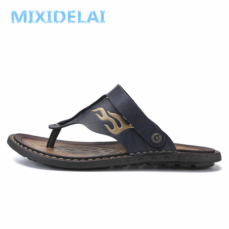 8e9e824ba466 ... MIXIDELAI Breathable Summer Roman Men Sandals Microfiber Leather Male Beach  Shoes Outdoor Slippers Soft Rubber Sandal ...