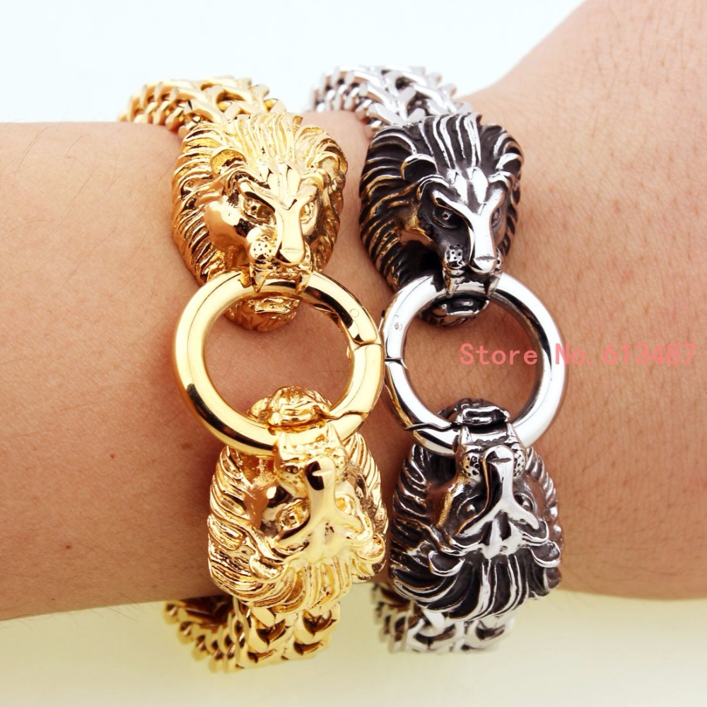 New Design Fashion Genuine Vintage Silver Gold Lion Head Stainless Steel Bracelet For Men Punk Wrap Man Bracelet bangle