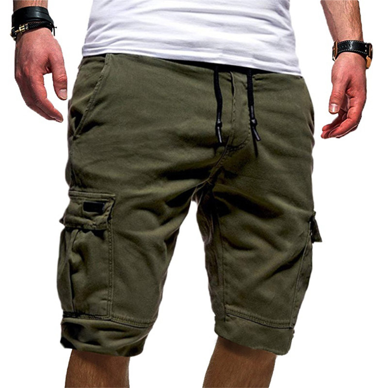 Men's Sport Pure Color Bandage Casual Loose Sweatpants Drawstring Shorts Pant Multi-pocket Shorts #2l11(China)