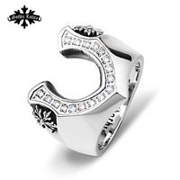 Letter V Victory rings for men Stainless steel Cubic Zircon fashion jewery gift for your boyfriend