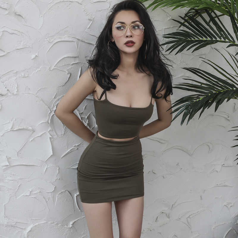 70df8093 Sexy Strap Top Skirt 2 Pieces Set Camis Camisole Bralette Crop Top+ Short  Sheath Skirts Women