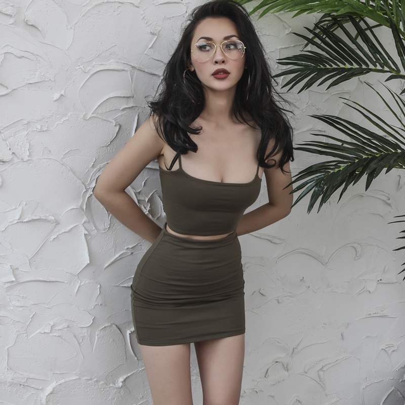 Sexy Strap Top Skirt 2 Pieces Set Camis Camisole Bralette Crop Top+ Short Sheath Skirts Women Club Party Uniform Outfit