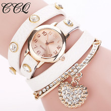 CCQ Vogue Rhinestone Coronary heart Pendant Watch Girls Leather-based Bracelet Watches Quartz Watch Reloj Mujer Relogio Feminino Present 713