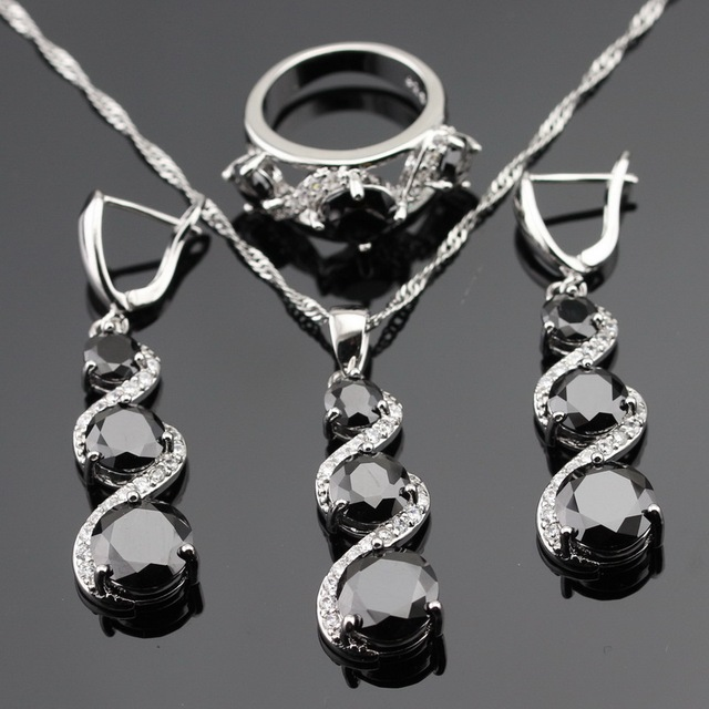 Black White Cubic Zirconia Silver Color Jewelry Sets For Women Christmas Necklace Pendant Rings Long Earrings Free Gift Box