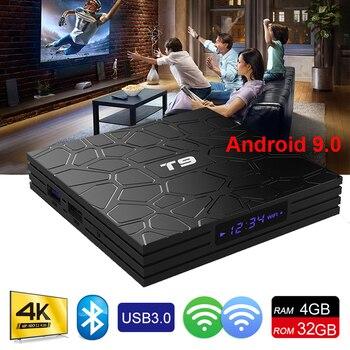 2019 новейший Android 9,0 ТВ коробка T9 RK3328 4 ядра, 4 Гб Встроенная память 32 GB Оперативная память USB 3,0 4 K Декодер каналов кабельного телевидения 2,4G WI-FI BT4.1 Смарт ТВ Media Player
