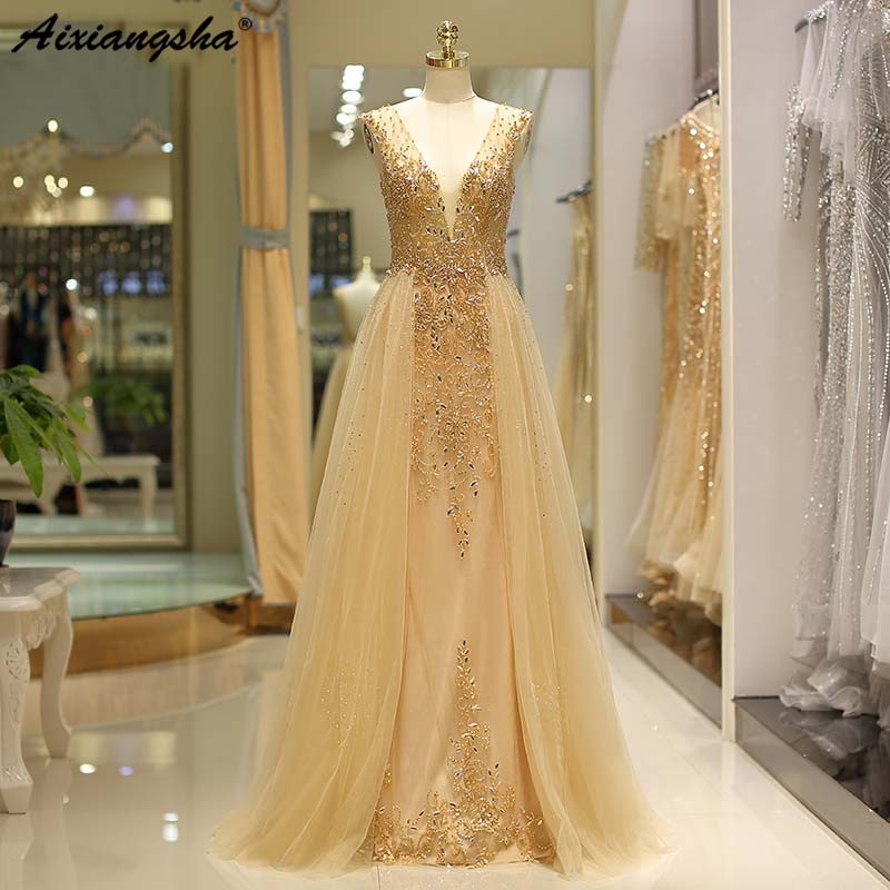 Heavily Beaded Gold   Evening     dresses   Sparking Rhinestones See Through Prom Gown Long Party Gown Robe de Soiree