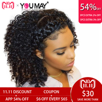 Kinky Curly Wig 360 Lace Frontal Wigs Pre Plucked With Baby Hair Brazilian Lace Front Human Hair Wigs 180% You May Remy Hair