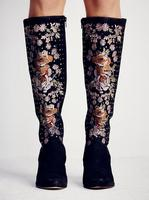 Luxury Embroidery Flowers Women Pointed Toe Knee High Boots Black Suede Leather Ladies Wedge Heel Boots