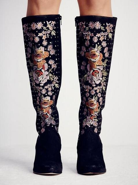 694e3634927a Luxury Embroidery Flowers Women Pointed Toe Knee High Boots Black Suede  Leather Ladies Wedge Heel Boots