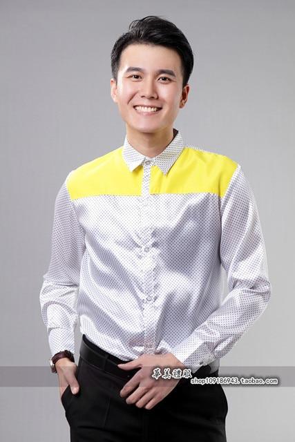 hot sale!Men Show Host Sequins Shirt Stage Singer Costume Party Dance Dress Shirt Chorus