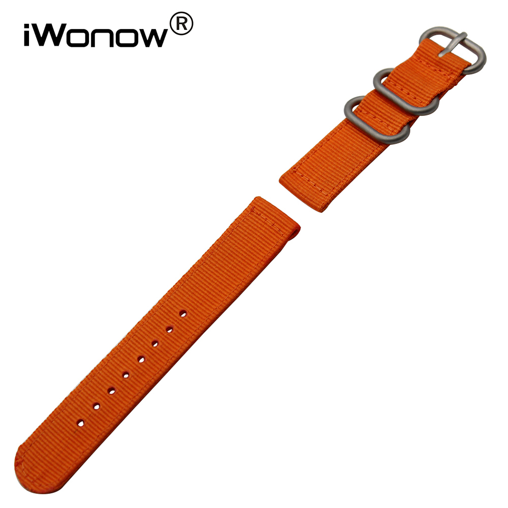 Genuine Nylon <font><b>Watchband</b></font> 18mm <font><b>20mm</b></font> 22mm 24mm for <font><b>Seiko</b></font> Citizen Casio Men Women Watch Band Zulu Strap Wrist Bracelet Black Orange image
