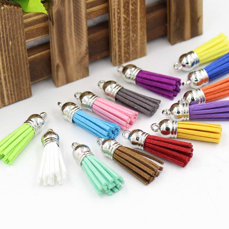 15pcs Suede Tassel Keychain Leather Tassels Silver Caps Straps DIY jewelry 38mm