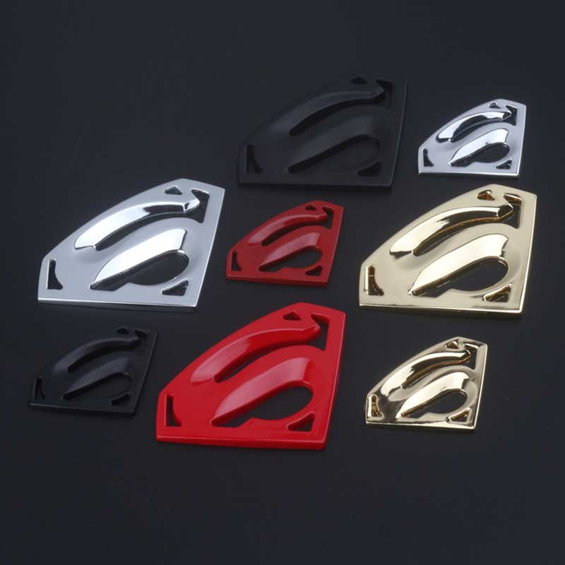 Dengyao 3D 3M chrome emblem Auto logo Motorcycle accessories Funny car stickers Superman badge metal Universal Car styling customized badge holder lanyard company logo print personalized lanyard printing badge accessories