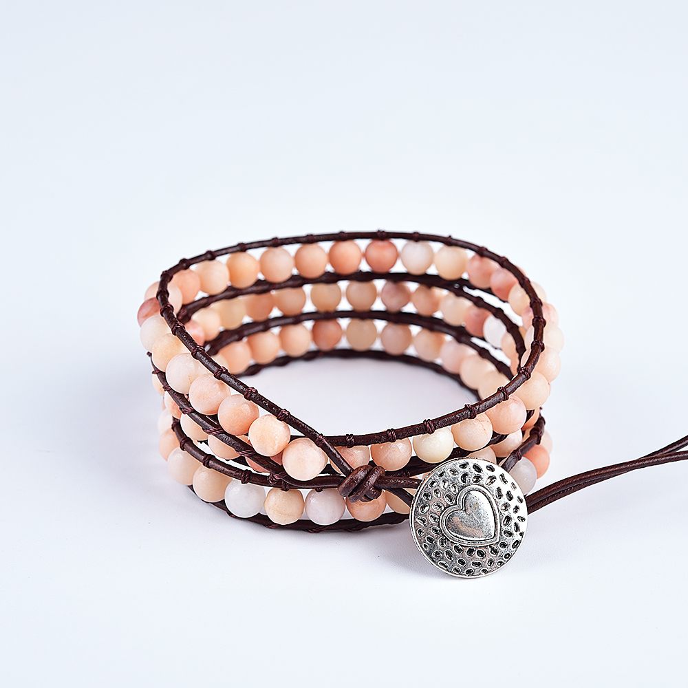 Asingeloo Pink Stone Beads Handmade Unique Charm 3 Strand Wrap Bracelets Boho Jewelry Bracelet For Women Holiday Gift in Charm Bracelets from Jewelry Accessories