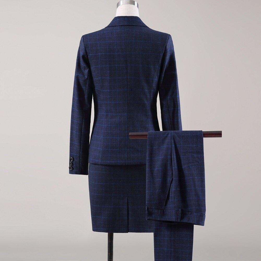 Longues D'affaires Blue À blue blue Ol D'hiver Skirt Pants Costume 4 Veste Mince Bleu Acrmrac Pantalon Costumes Pieces Femmes Jacket Pieces blue Set Skirt Pants Formelle Grille Manches 3 w8Yx6