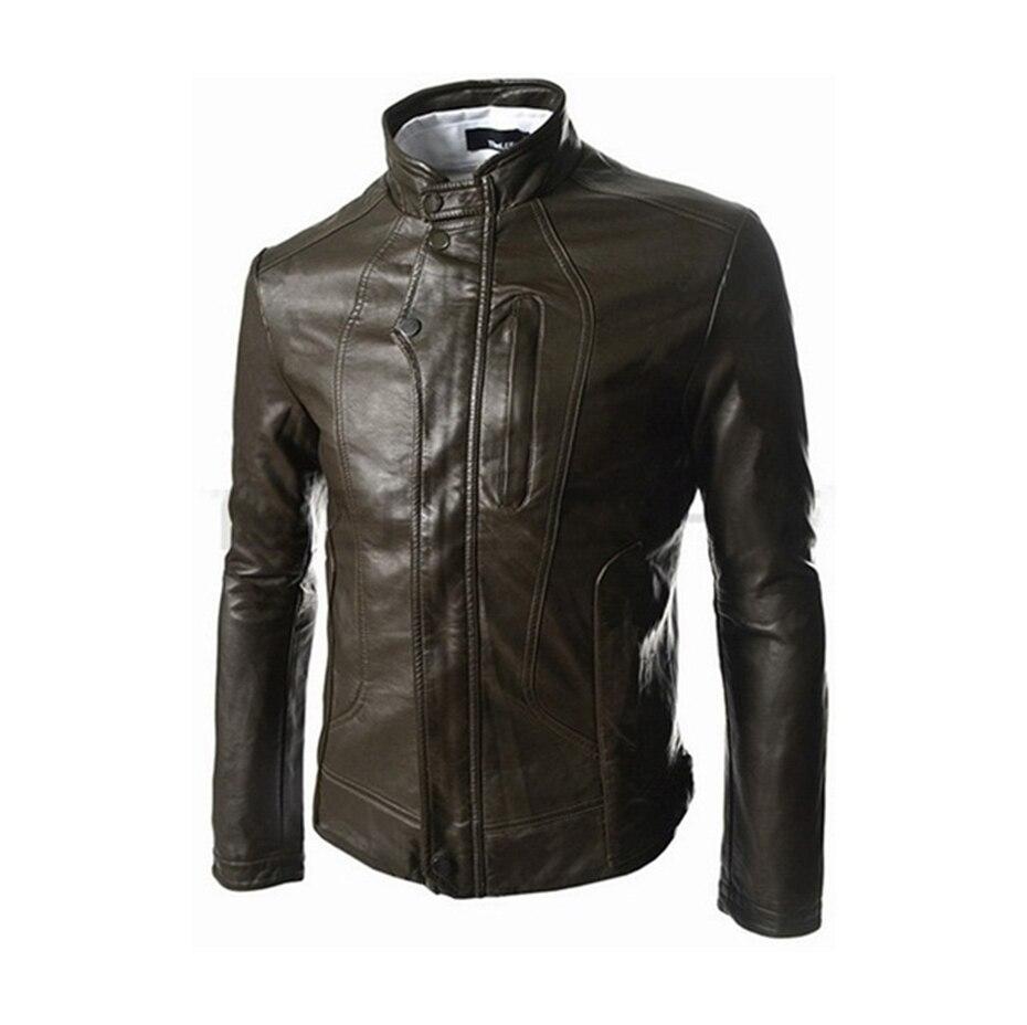 Zogaa hommes veste en cuir hommes vêtements 2018 nouvelle coupe poche courte style slim vestes en cuir manteau décontracté col montant pardessus - 5