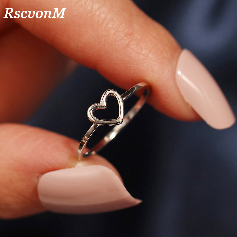 RscvonM Fashion Gold Silver Color Heart Shaped Wedding Ring for Woman Female Statement Engagement Party Jewelry Dropshipping