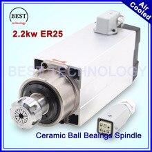 New Arrival  2 2kw ER25 air cooled spindle 220v 4pcs ball