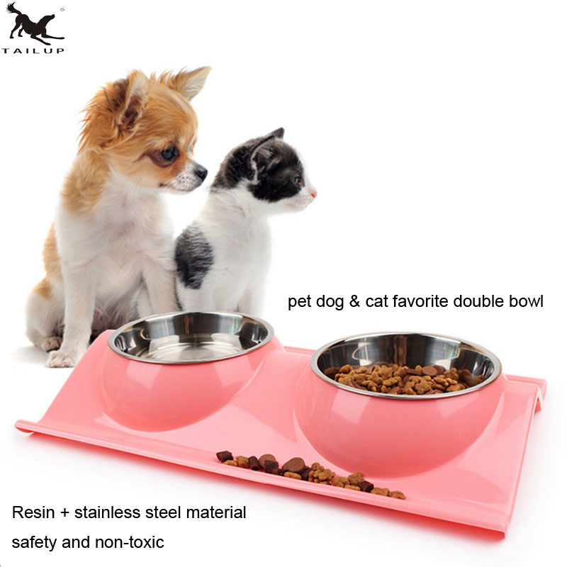 Pet Dog Food Double Bowl,Puppy Dog Stainless Steel Double bowl Dog Food Drink Bowl,Cat Food Drinking Double Bowl  PB022