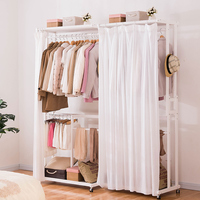 LK26 Portable Multi Function Clothing Hanger Coat Rack Quality Wood Wardrobe Garment Shelves Stand Rolling Clothes