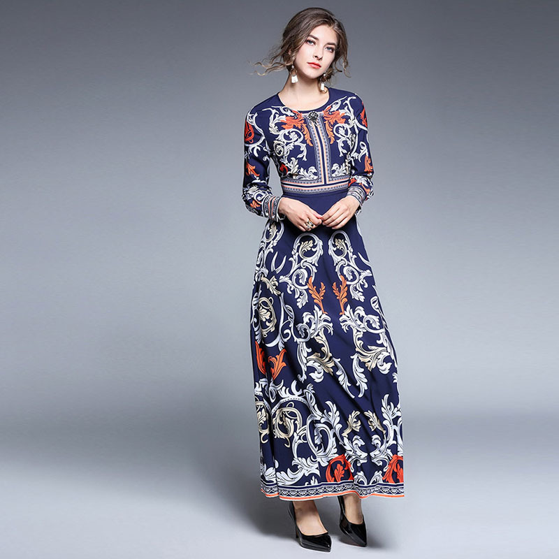 56b12f2d81 Señora larga vestido otoño manga larga impreso lujo estilo europeo ruso  mujeres tradicional ropa retro elegante partido Vestidos en Vestidos de La  ropa de ...