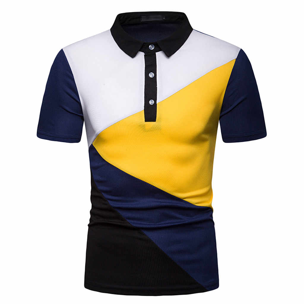 ad41fdcb3 2019 Summer Brand Men's Polo Shirt Short Sleeve with Button Slim juventus  Patchwork Yellow