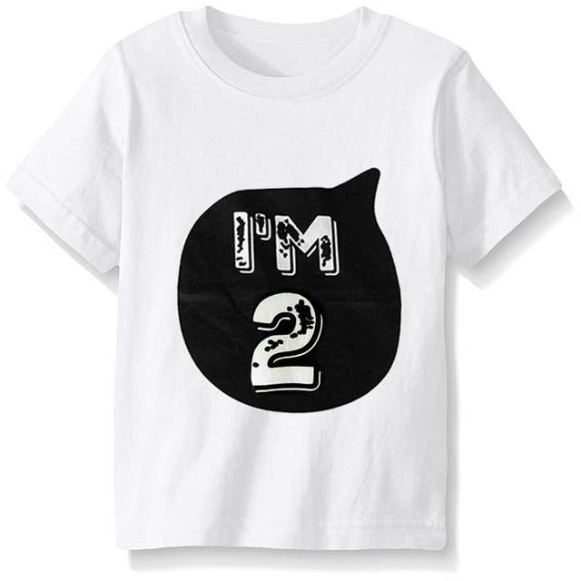 2018 Kids Birthday T Shirts Boys Girls Soft Shirt Children Tops Baby Tees For