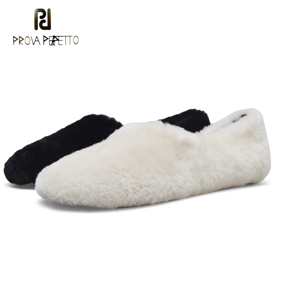 Prova Perfetto real fur women flats loafers wool warm slip on round toe casual autumn shoes runway style snow shoes white black women loafers shoes retro nation style lady shoes 2018 spring autumn round toe flock slip on sizes 35 42 wfs671