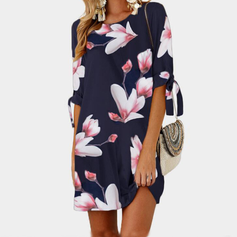 Female Floral Printed Mini Dress Plus Size Straight Casual Sundress 2018 Boho Women Summer Half Sleeve O-neck Boho GV591