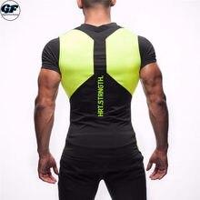 GYMFUCKERY GF 2017 New summer Men T Shirt short Sleeve Fashion Casual  Elastic Slim Fit Workout T Shirt Man Brand Clothing ede681f78882