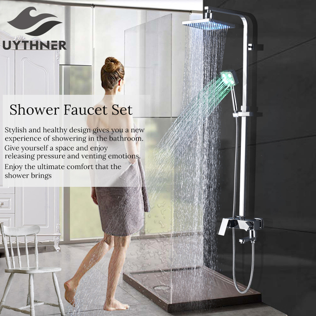 Newly 8 Inch Shower Set Faucet With Hand Sprayer Chrome Plate Rainfall Shower Tub Mixer Faucet 3-Function Switch Hot&Cold Water