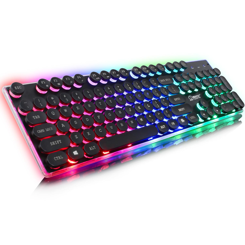 Rocketek USB clavier de jeu filaire rétro Punk rond porte-clés 3 couleurs mixte rétro-éclairage panneau métallique multimédia fonction clavier