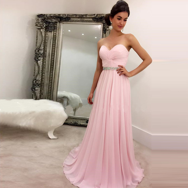 35e4a73c5cd Light Pink Prom Dresses Pleated Sweetheart Long Chiffon Prom Evening Dresses  2017 Elegant Beaded Sash Formal Party Gowns HD-640