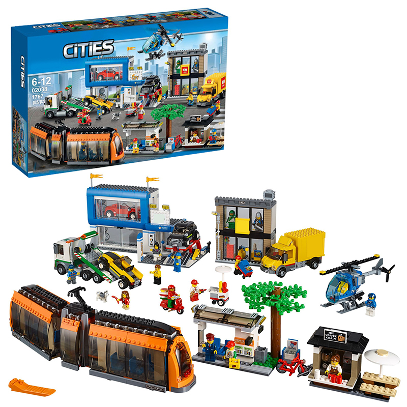 Lepin 02038 City Square building bricks Toys for children Game Model Car Gift Compatible with Decool Bela 60097 hot sembo block compatible lepin architecture city building blocks led light bricks apple flagship store toys for children gift