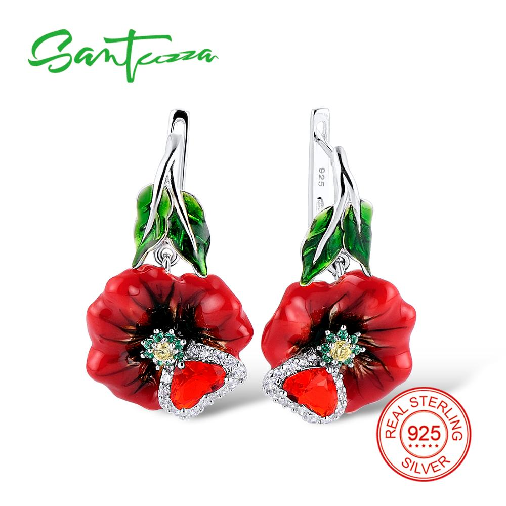 SANTUZZA Silver Earrings For Women 925 Sterling Silver Charming Red Flower Dangling Earrings Fashion Jewelry Handmade Enamel
