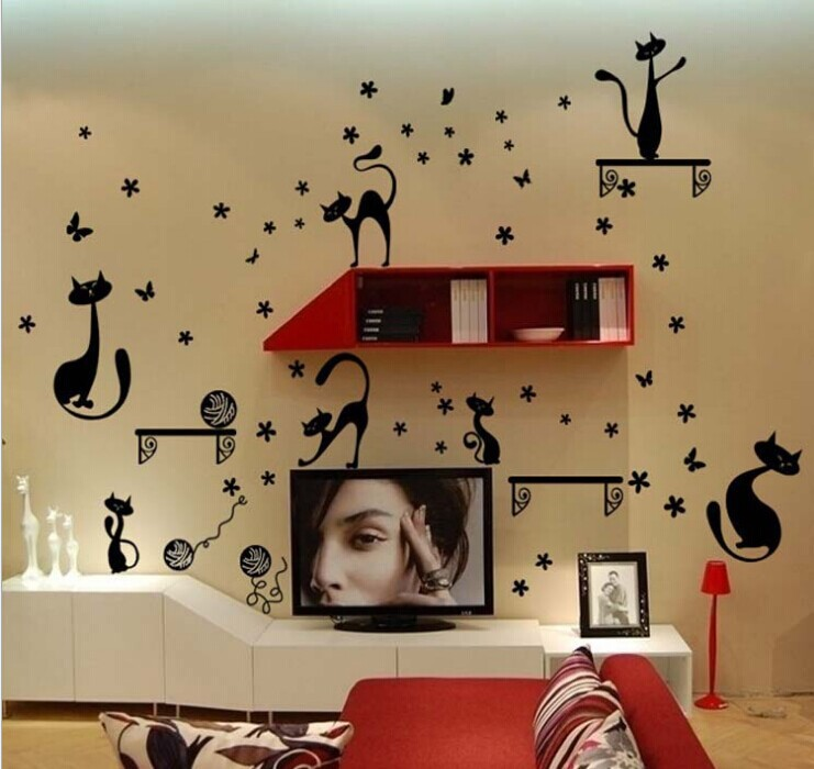 cartoon cute black cat wall stickers for kids rooms decor decals art removable living room TV background home stickers