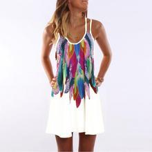 Для женщин богемное Платье с принтом перьев пляжное платье повседневные Свободные Спагетти ремень короткое летнее платье S-5XL плюс Размеры халат WS804O