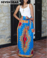 Bow Long African Print Skirt Vintage Ethnic High Waist Skirts Jupe Longue Femme
