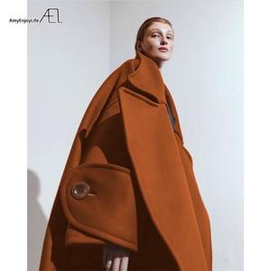 Image 4 - معطف نسائي من نوع ائيل شتوي حجم كبير كبير معطف من الصوف بطوق كبير معطف من الصوف عالي الجودة للنساء مقاس كبير