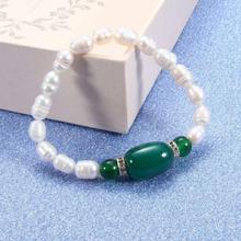 Женский браслет с натуральным пресноводным жемчугом и зеленым агатом